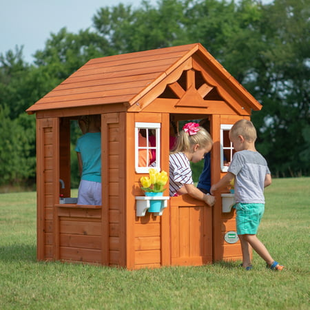 Backyard Discovery Timberlake Cedar Wooden Playhouse Walmartcom