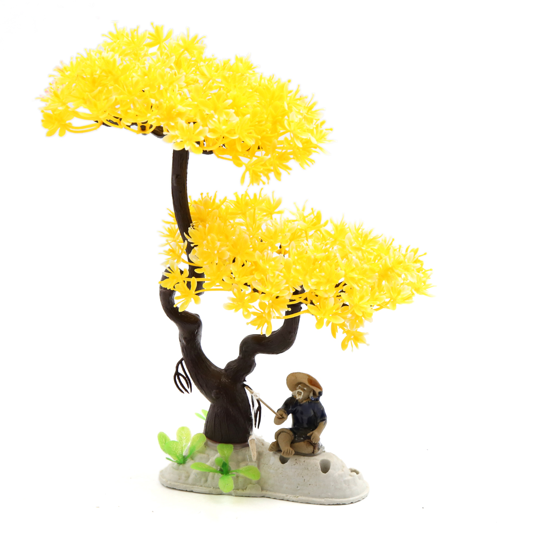 Yellow Plastic Flowers Tree Aquarium Fish Tank Landscape Decor w/ Ceramic Base