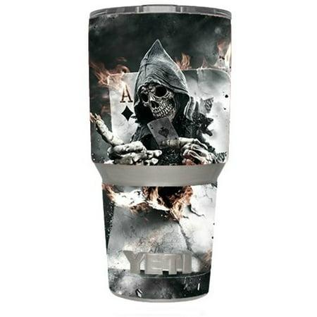 Skin Decal Vinyl Wrap for Yeti 30 oz Rambler Tumbler Cup (6-piece kit) Stickers Skins Cover / Ace Diamonds Grim Reeper Skull - Grim Reeper