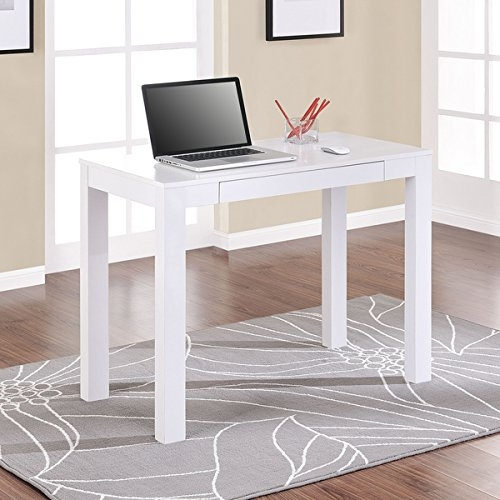 Slim White Writing Desk, Perfect Simple & Stylish Sleek Design, This Wooden Computer Desk Is Ideal for Dorm Rooms and Classic Households