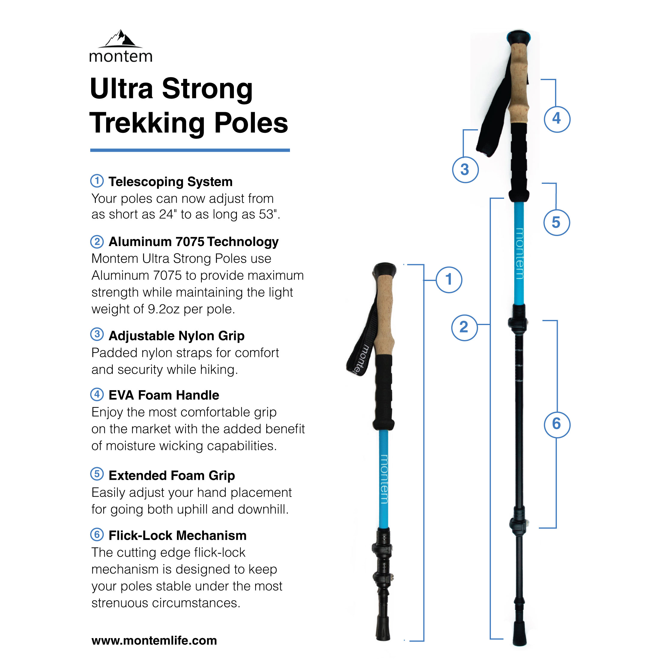 Montem Ultra Strong Hiking   Walking   Trekking Poles One Pair by Montem
