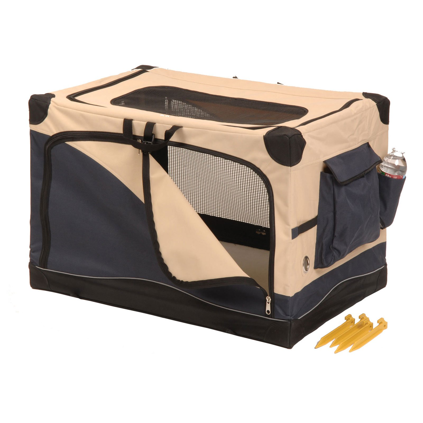Precision Pet Soft Side Pet Crate��2000 24 in. x 18 in. x 17 in. Navy Tan