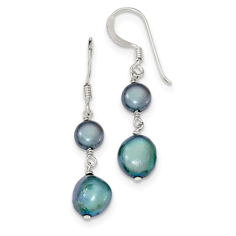 Sterling Silver Blue-Green Freshwater Cultured Pearl Earrings (1.4IN x 0.3IN )