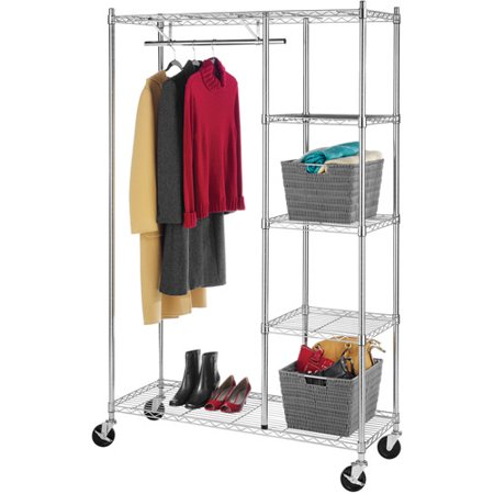 Whitmor Rolling Garment Rack with Shelves, Chrome Finish