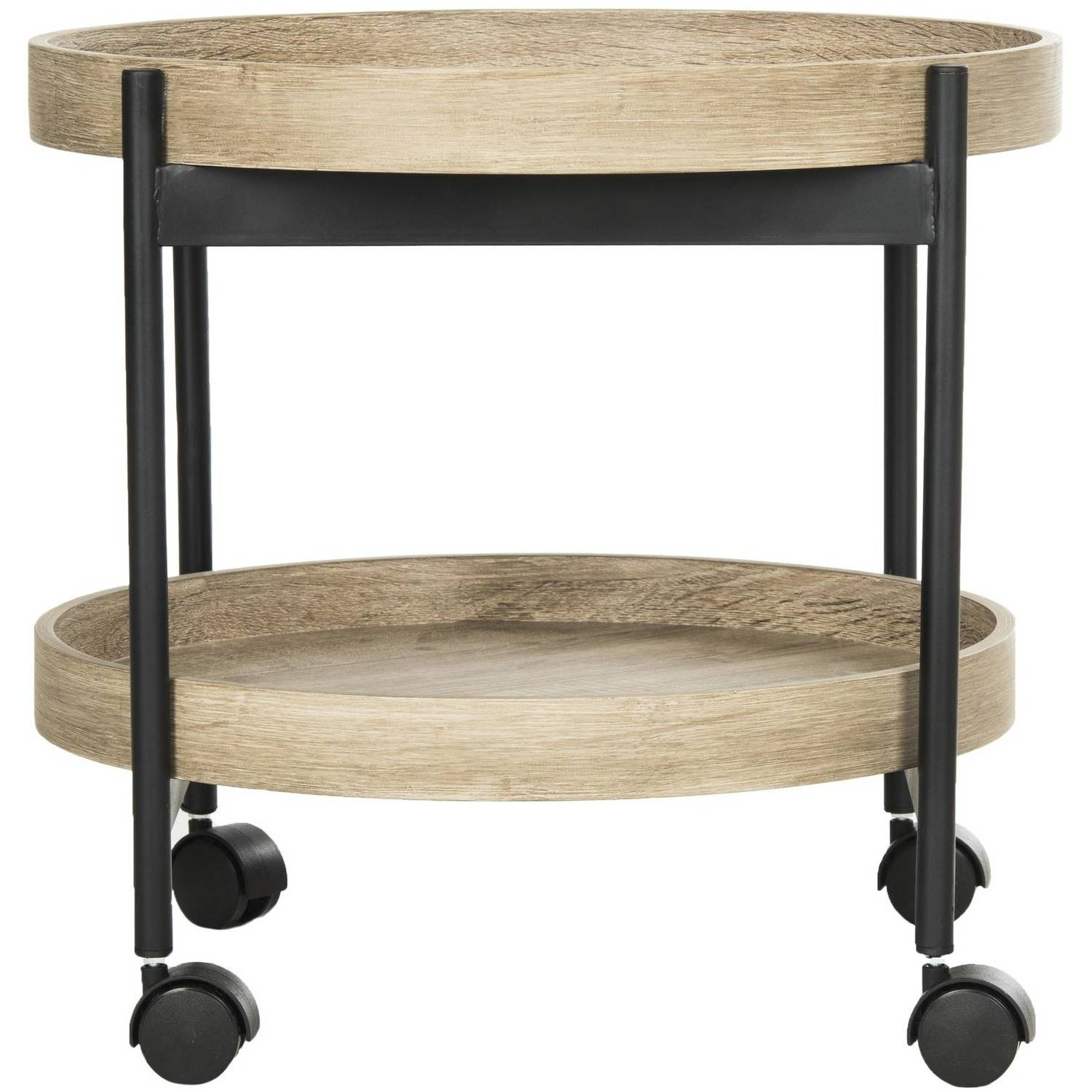 "Safavieh Javan 20"" Round Retro Mid Century 2-Tier Tray Side Table, Light Grey/Black"