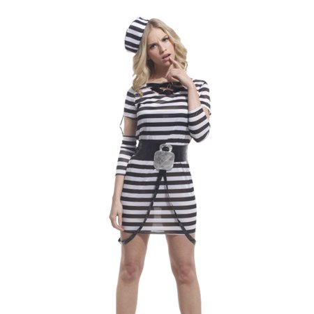 Spooktacular Women's Striped Jailbird Inmate Costume with Dress & Accessories, M](Jail Inmate Costume)