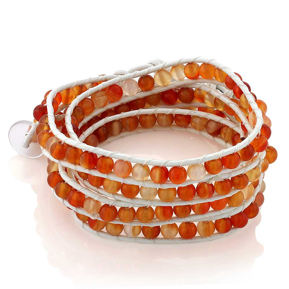 36 Inch Long Wrap Bracelet Orange Crystal Beads and White Leather with Button