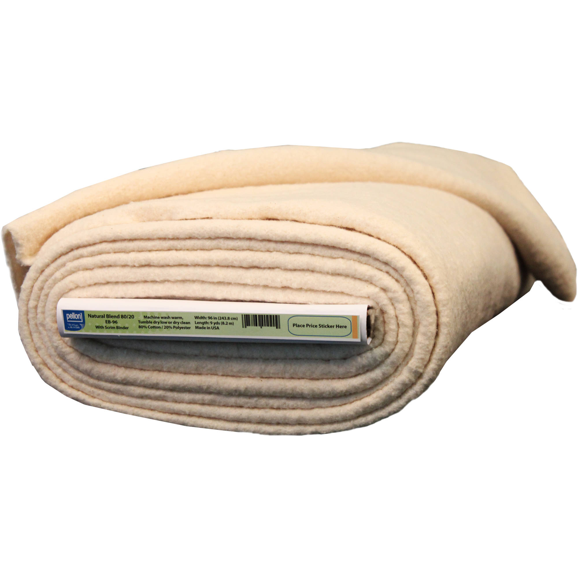 "Pellon Natural Blend 80/20 Batting With Stabilizing Scrim Binder, 96"" Wide, 9 Yard Bolt"