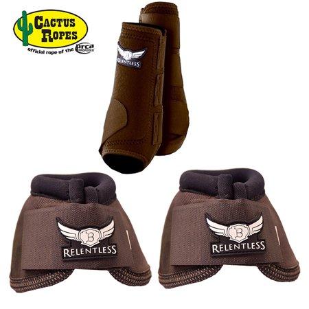 76b9d466fa5ad SMALL CHOCOLATE RELENTLESS TREVOR BRAZILE HORSE 2 FRONT LEG SPORT 2 BELL  BOOT