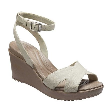Crocs Women's Leigh II CrossStrap Ankle Wedge (Signature Wedge Sandals)