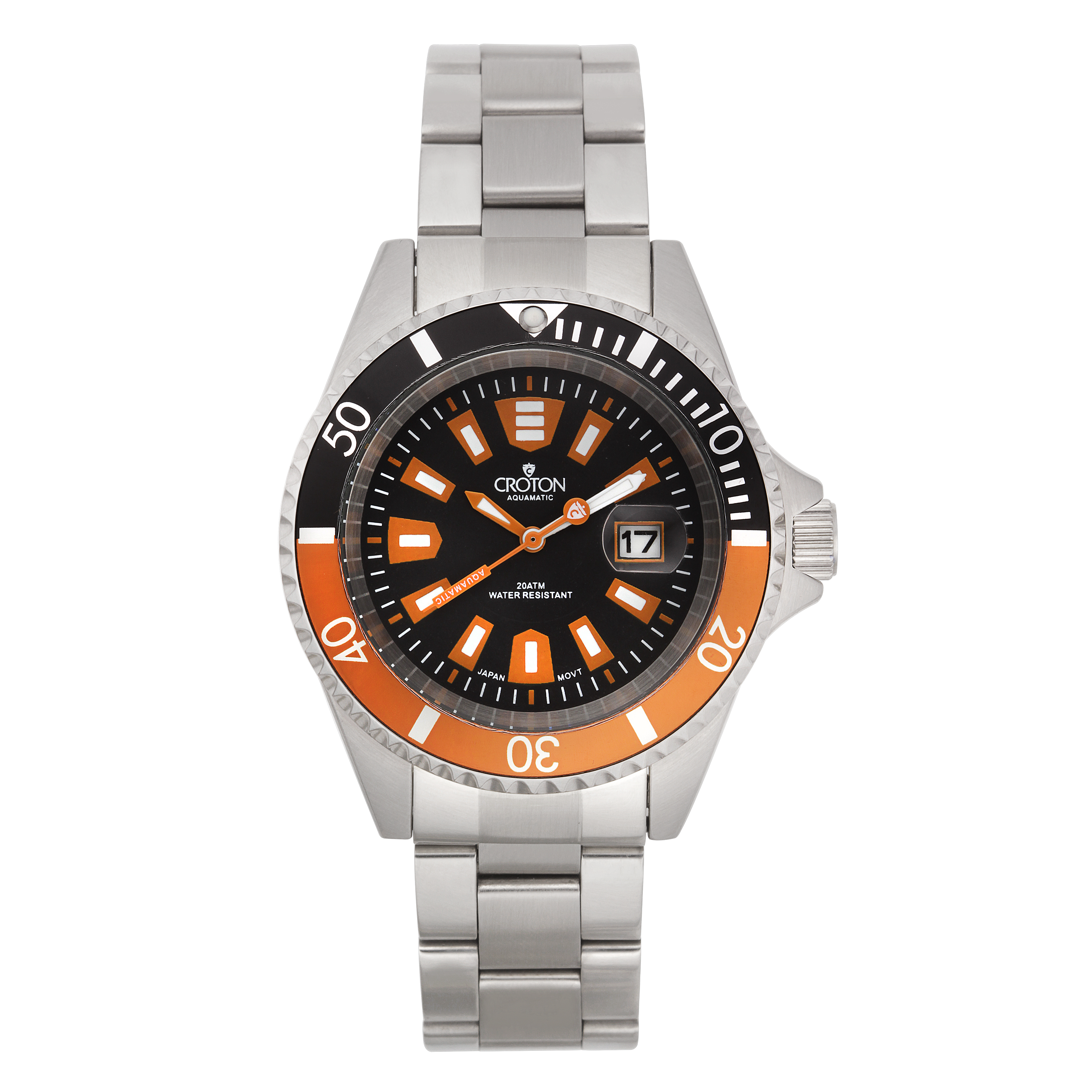 Croton Mens Stainless Steel Black Magnified Date Watch