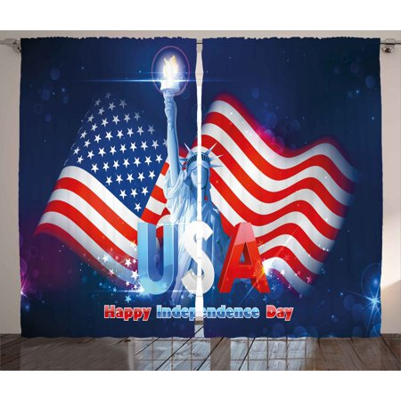4th of July Curtains 2 Panels Set, Hipster Dog with Sun Glasses and US Flag Comic Absurd Joke Illustration Print, Window Drapes for Living Room Bedroom, 108W X 96L Inches, Blue and Red, by Ambesonne (4 Glass Windows)