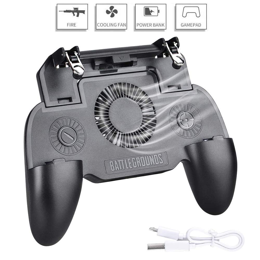Lazmin 4 in 1 Mobile Gamepad for PUBG Cooler Cooling Fan Shooter Controller Handle Joystick Metal Trigger with 2200//4400mAh 2200mAh
