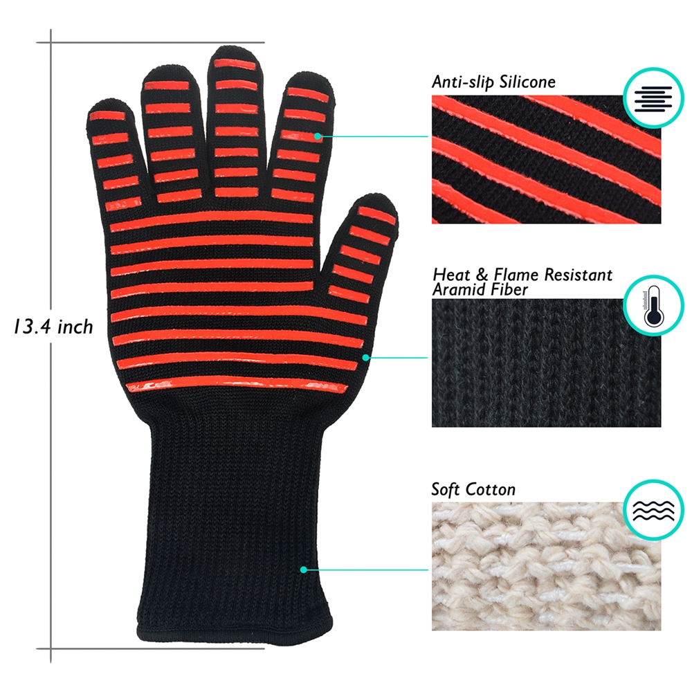 Flashmen BBQ Gloves, Extreme Heat Resistant Grill Gloves Anti-Slip Aramid Fiber Grilling Gloves 923?F Oven Gloves Mitts for Outdoor Cooking Oven BBQ Grill (1 Pair) - image 1 of 6