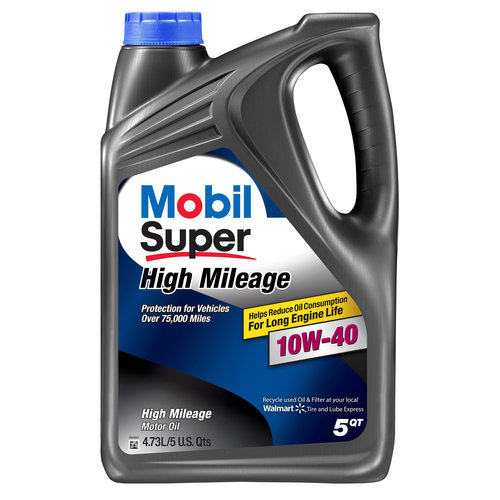 Mobil Super 10W-40 High Mileage Motor Oil, 5 qt.