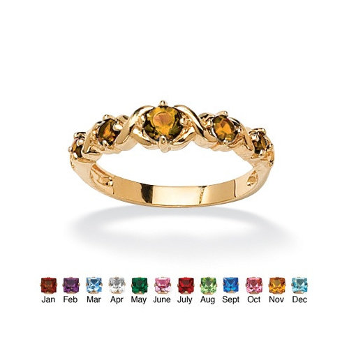 Palm Beach Jewelry 14k Gold Plated Round Birthstone ''X and O'' Ring