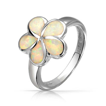 White Created Opal Hawaiian Plumeria Flower Ring For Women For Teen 925 Sterling Silver October (Hawaiian Plumeria Flower Ring)