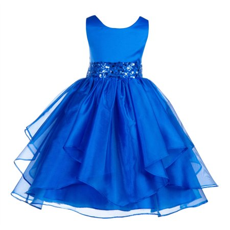 Ekidsbridal Asymmetric Ruffled Organza Sequin Flower Girl Dress Weddings Easter Special Occasions Pageant Toddler Birthday Party Holiday Bridal Baptism Junior Bridesmaid Communion 012s (Poofy Dresses For Girls)