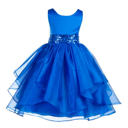 Ekidsbridal Asymmetric Ruffled Organza Sequin Flower Girl Dress Weddings Easter Special Occasions Pageant Toddler Birthday Party Holiday Bridal Baptism Junior Bridesmaid Communion 012s - Flower Girl Dresses With Red