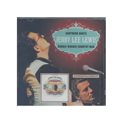 """2 LPs on 1 CD: SOUTHERN ROOTS (1973)/BOOGIE WOOGIE COUNTRY MAN (1975).<BR>Personnel includes: Jerry Lee Lewis (vocals, piano); Steve Cropper, Alan Jackson Jr., Augie Meyer, Donald """"Duck"""" Dunn, Mack Vickery, Carl Perkins, Tony Joe White, The Memphis Horns."""