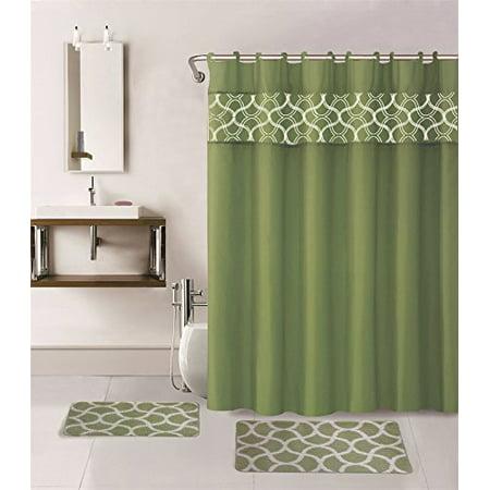 15-piece Hotel Bathroom Sets - 2 Non-Slip Bath Mats Rugs Fabric Shower Curtain 12-Hooks  GEOMATRIC SAGE ()