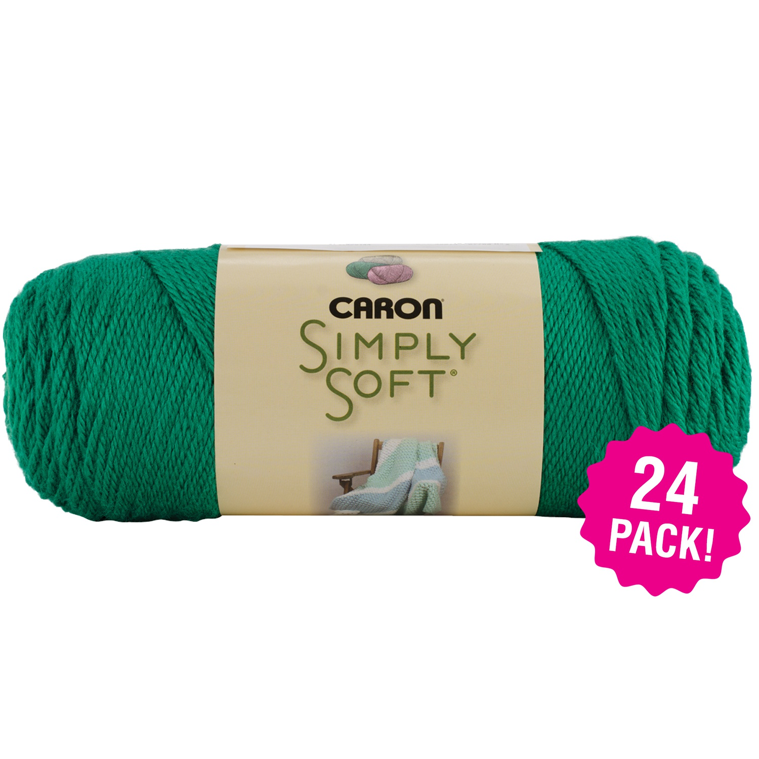 Caron Simply Soft Solids Yarn - Kelly Green, Multipack of 24