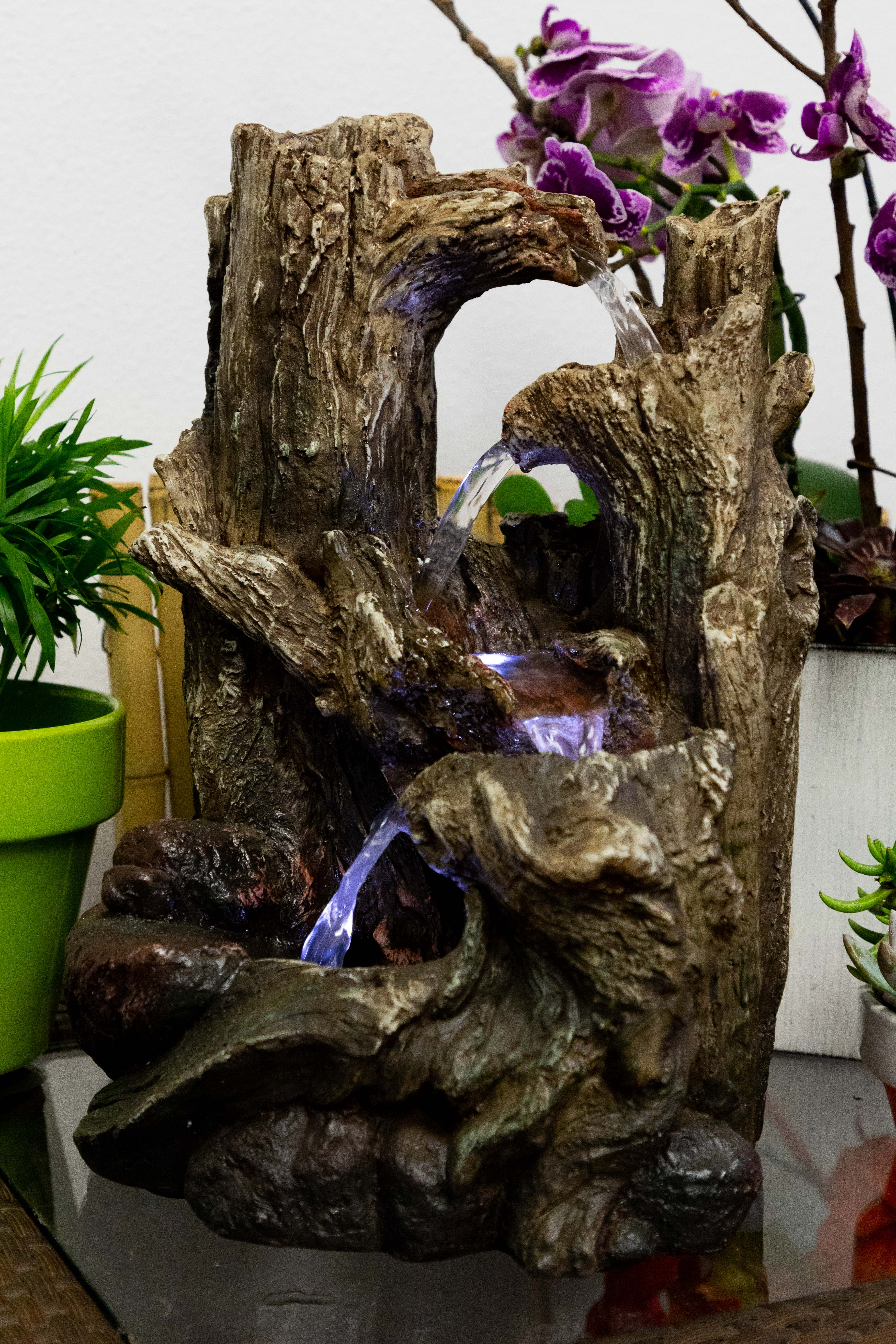 Alpine 5-Tiered Rainforest Tree Trunk Tabletop Fountain w  LED Lights, 14 Inch Tall by Alpine Corporation