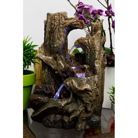 Alpine 5-Tiered Rainforest Tree Trunk Tabletop Fountain w/ LED Lights, 14 Inch - Wholesale Tabletop Fountains