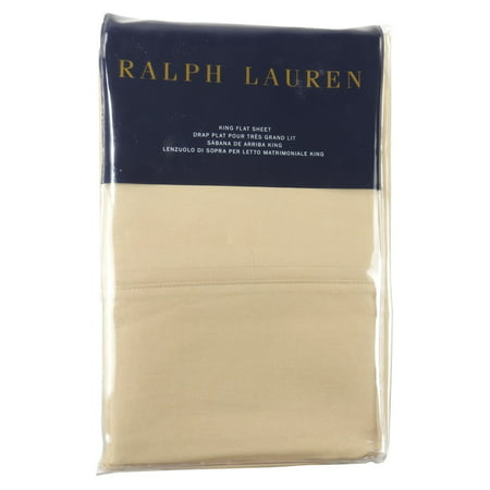 Ralph Lauren King 464TC Flat Sheets, RL 464 Solid Percale, Burnished Chamois (Ralph Lauren Bedding Queen)