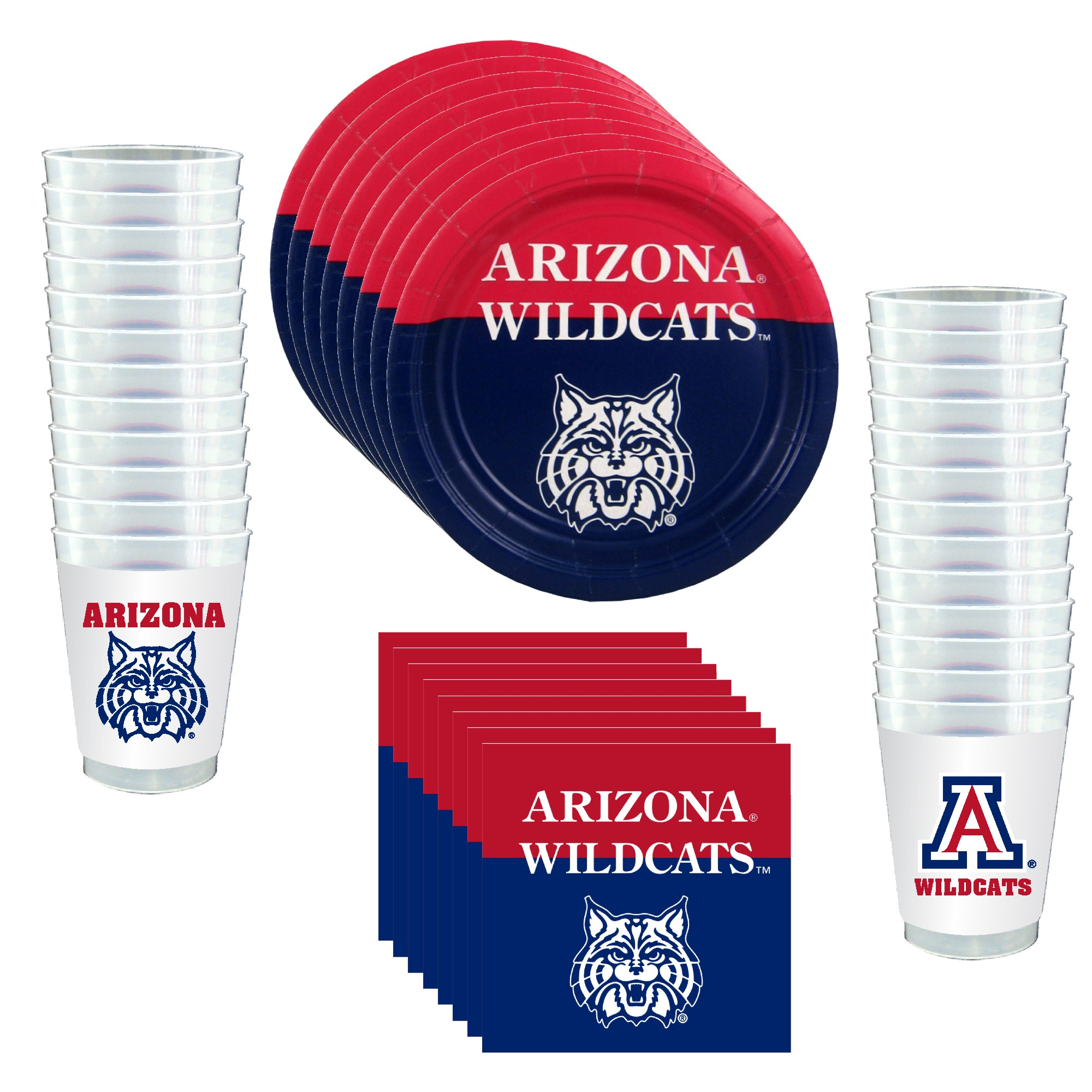 Arizona Wildcats Party Supplies - 81 Pieces (Serves 24)