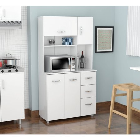 "Inval 66"" Kitchen Storage Cabinet/Microwave Cart, Larcinia ..."