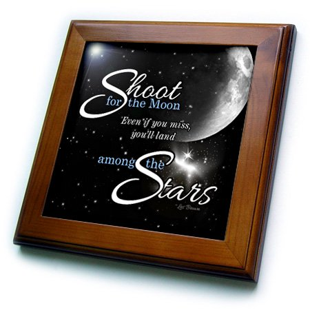 3dRose Shoot for the Moon is great for the Graduate or Promotion and features a quote by Les Brown - Framed Tile, 6 by 6-inch