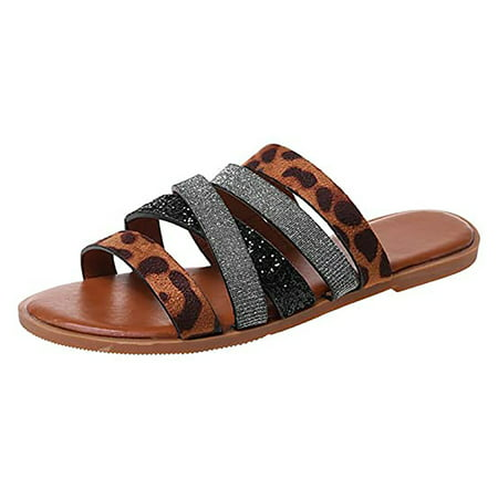 Mchoice 2021 Comfy Brown Sandals for Women Casual Summer Flip Flops Summer Beach Platform Sandals Travel Hiking Flat Shoes for Girls and Ladies