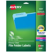 "Avery Glossy Clear File Folder Labels, 2/3""x3-7/16"", 450 Labels (5029)"