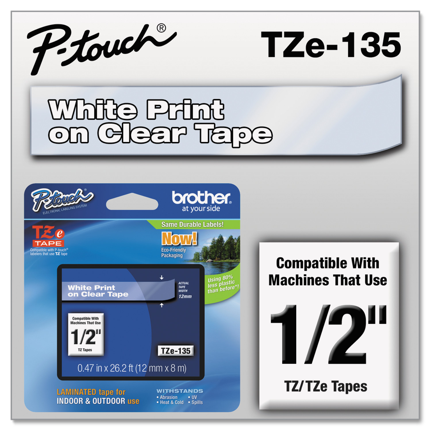 """Brother P-Touch TZe Standard Adhesive Laminated Labeling Tape, 1 2""""w, White on Clear by BROTHER INTL. CORP."""