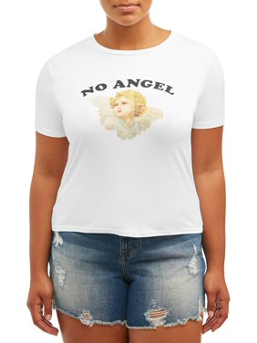 5c55a639f Product Image Juniors' Plus No Angel Graphic Tee