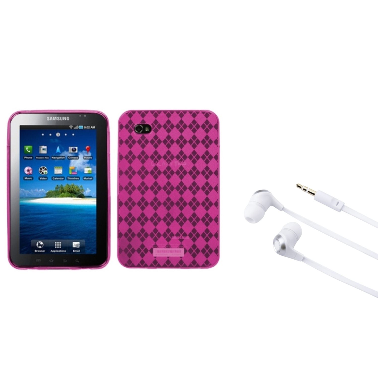Insten Hot Pink Argyle Candy Skin Case+Silver Headset For Samsung Galaxy Tab P1000