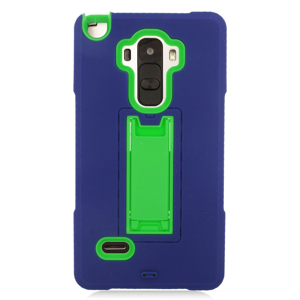 Insten Symbiosis Rubber Hybrid Hard Case with stand For LG G Stylo / G Vista 2 - Blue/Green - image 4 de 4