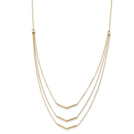 Bar 3 Strand - Roy Rose Jewelry 14K Yellow Gold 3 Strand w 2in Extension Drop Bar Necklace ~ length: 18 inches
