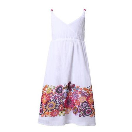 Girls White Colorful Wildflower Print Summery Dress 9/10