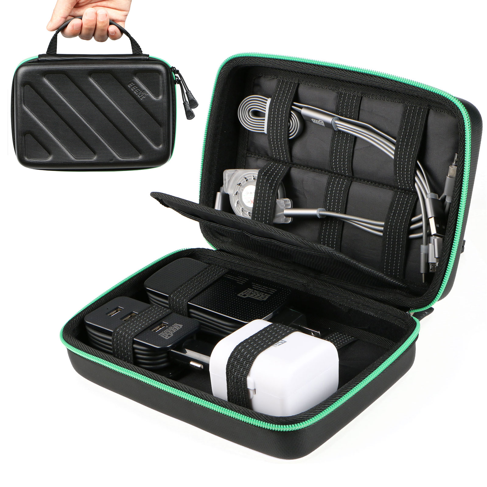 Portable Travel Cable Organizer Electronics Accessories Cases Digital Bag for Hard Drives, Charging Cords, USB Charger Adapter, USB Flash Drives, Data Cable (6.5 in x 5.9 in x 1.8 in)