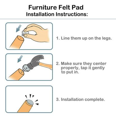 "8pcs Nail-on Felt Pad Nails Glide Slider 1"" 26mm Dia for Wooden Furniture Chair Table Leg Feet - image 5 de 7"