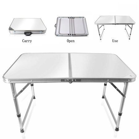 Awesome 3Ft Aluminum Folding Camping Table Height Adjustable Legs For Indoor Outdoor Party Picnic Dining Beach Backyards Bbq White Download Free Architecture Designs Scobabritishbridgeorg