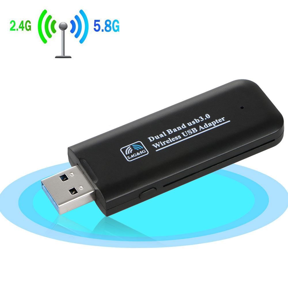 Wireless USB Wifi Adapter, Dual Band 2.4/5Ghz 1200Mbps Wireless USB WiFi Network Adapter w/Antenna 802.11AC for Computer PC Laptop Win XP/7/8/10,MAC,Linux