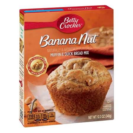Banana Cake Mix - (4 Pack) Betty Crocker Banana Nut Muffin and Quick Bread Mix, 12.3 oz