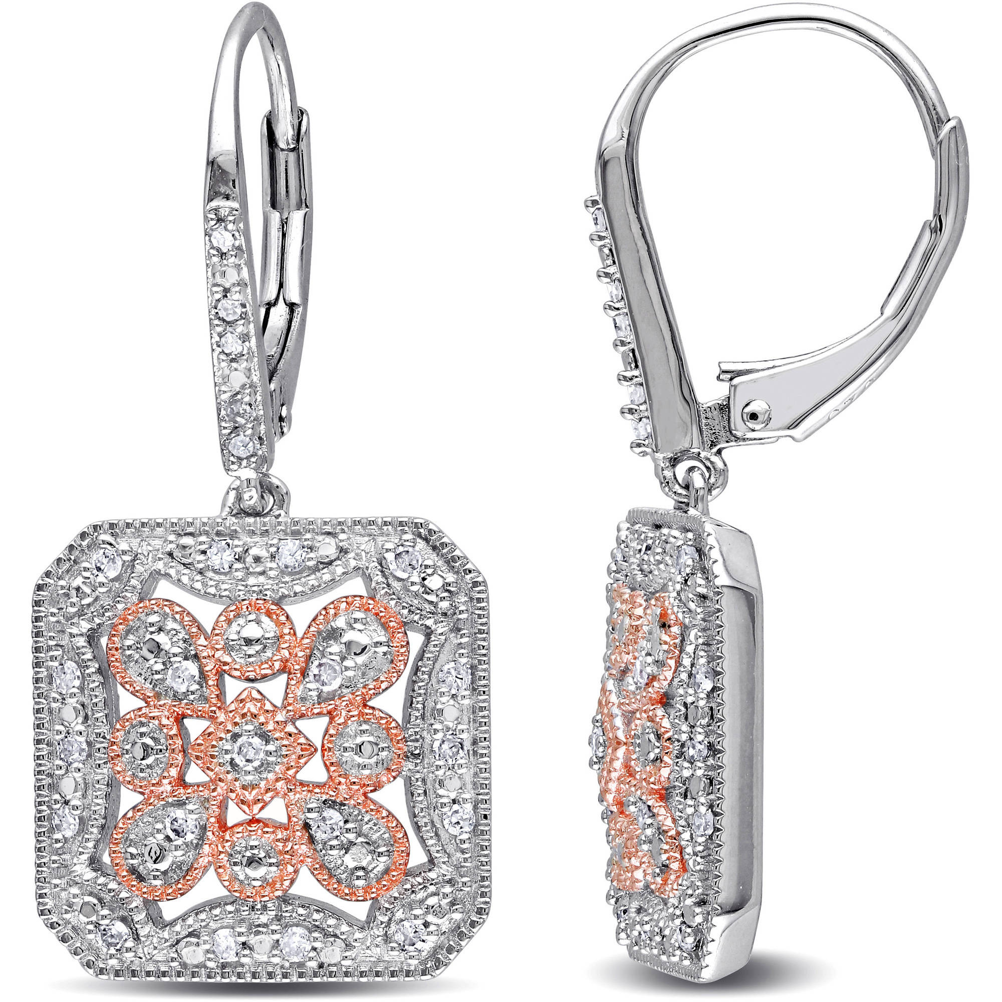 Miabella 1/4 Carat Diamond 2-Tone Sterling Silver Leverback Earrings