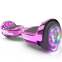 "Flash Wheel Certified Hoverboard 6.5"" Bluetooth Speaker with LED Light Self Balancing Wheel Electric Scooter - Chrome Pink"