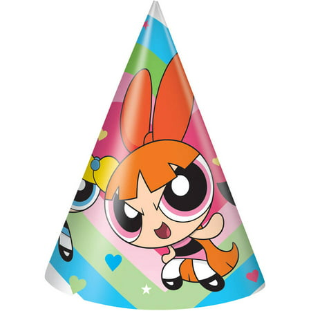 Powerpuff Girls Party Hats, 8ct - Girls Tea Party Hats