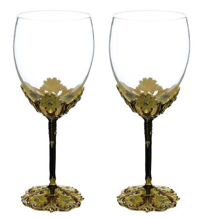 Fine Fairytale Inspired Wine Glass With Metal Stem Decorated With Aqua Crystals And Yellow Flowers Pair Gift Set