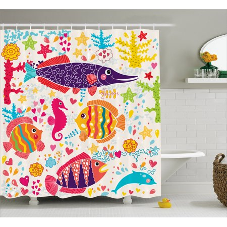 Kids shower curtain set cartoon art with fish seahorse for Kids shower curtain sets